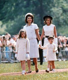 Jackie,Caroline and John Jr with Jean Kennedy Smith.