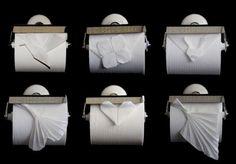 Origami on toilet rolls