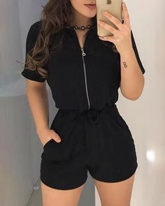 Short Sleeve Zipper Design Romper Source by aysudaabas casual Solid V Neck Lace Splicing Tank Black 13 Almost-Effortless Ways to Make Clothes Rompers Women, Jumpsuits For Women, Trend Fashion, Fashion Outfits, Womens Fashion, Style Fashion, 90s Fashion, Fashion Tips, Fashion Stores