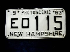 Vintage New Hampshire License Plate 1963 Photoscenic NH - Collectible by EitherOrFinds on Etsy