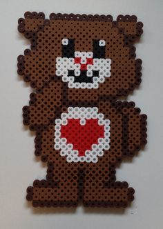 Perler Care Bear - Tenderheart Bear.