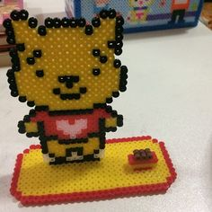 Winnie the Pooh photo holder perler beads by secret_beads