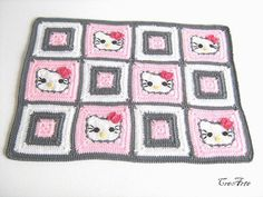 Crochet Placemat Hello Kitty Dinner Mats by CreArtebyPatty on Etsy