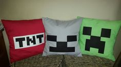 Minecraft. Choose 2 cushion covers. Skeleton, creeper or tnt. Bedding. Pillow.