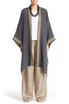 Alternate Image 1 - eskandar Reversible Two-Tone Linen Blend Coat