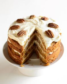 Carrot Cake with Maple Cream Cheese Frosting recipe - via Cooking for Seven