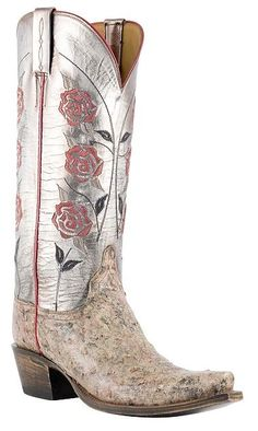 Womens Lucchese Classics Desert Painted Ostrich Boots with Martha Stitching