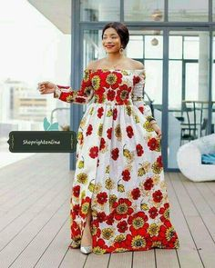 Items similar to Ankara flowers dress for women's / kinte long dress / Africa print wax long dress / party and wedding dress on Etsy Ankara Long Gown Styles, Latest African Fashion Dresses, African Dresses For Women, African Print Fashion, African Attire, Africa Fashion, Ankara Styles, African Print Dress Designs, African Traditional Dresses