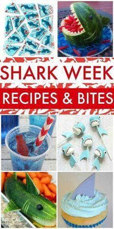 Shark Snacks, Shark Party Foods, Shark Week Crafts, Comida Picnic, Party Mottos, Shark Cake, Shark Cupcakes, Hai, Birthday Party Themes