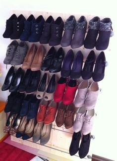 After mounting all the parts and putting your shoes on it, you have your custom shoe rack for all your high heels :D