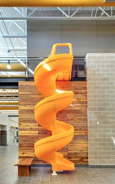 fun yellow slide {gloria marshall elementary school} elementary school interior #education
