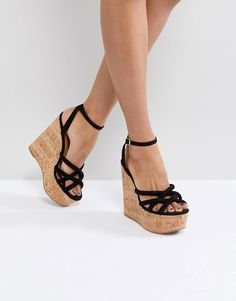 Order ASOS TULITA High Wedges online today at ASOS for fast delivery, multiple payment options and hassle-free returns (Ts&Cs apply). Get the latest trends with ASOS. Asos, Black Wedges Outfit, High Heels For Prom, Basket A Talon, High Wedges, Brown Wedges, Bridesmaid Shoes, Sneaker Heels, Fashion Sandals