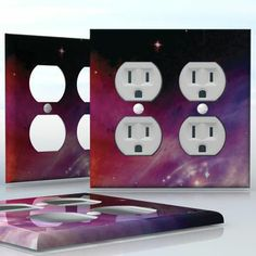 DIY Do It Yourself Home Decor - Easy to apply wall plate wraps | Purple Space Colorful nebula with stars wallplate skin sticker for 2 Gang Wall Socket Duplex Receptacle | On SALE now only $4.95