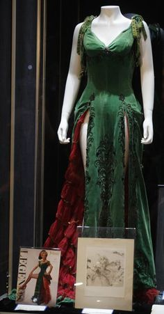 """green velour dress worn by actress Marilyn Monroe in her 1954 film """"River of No Return"""""""