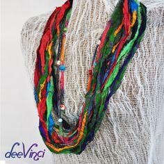 Womens scarf multicolor fiber art boho infinity scarf beaded Sari silk ribbon necklace Ready to ship