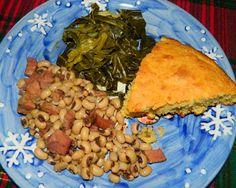 Lise's Log Cabin Life: Lise's Healthy Black Eyed Peas & Collard Greens and Corn Bread