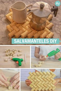 Salvamanteles de corcho ➜ Abre una botella de vino y brinda por este superidea para proteger tu mesa de sartenes u ollas calientes ; Kids Crafts, Crafts For Teens To Make, Diy For Teens, Diy Crafts To Sell, Easy Crafts, Decor Crafts, Kids Diy, Wine Cork Projects, Wine Cork Crafts
