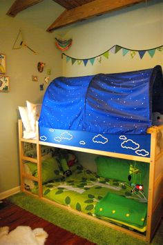 Boys' Shared Bedroom – Lots of great ideas for this Camping in the Woods VERY cute room, simple, reasonable $, Yay Ikea!!!!
