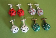 Made To Order in Any Color  D20 Dice Cufflinks Cuff by TursiArt