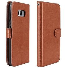 Samsung Galaxy Plus Luxury Leather Wallet Case With Card Holder Brown for sale online