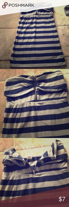 ZENANA+XXI(2)item: STRIPED dress-+ crop top. Sz: S BRAND:ZENANA OUTFITTERS. Description: Horizontal Striped Gray& Blue Mini Dress. Size S. Condition: Good. PreOWNED.+ striped crop top. Zenana Outfitters Dresses Mini