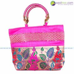 Hand Bag - Lady with Pot Design and Gold Zari