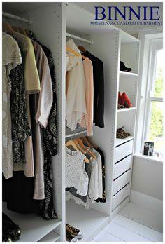 An open, spacious and bright walk in wardrobe by Binnie Maintenance and Refurbishment Ltd. Walk In Wardrobe, Refurbishment, Bright, Projects, House, Ideas, Home Decor, Built In Wardrobe, Restoration