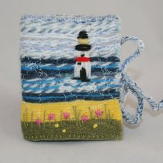 Embroidered and Felted Needle Case  Light house by Lynwoodcrafts