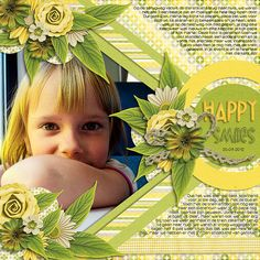 Darling Happy Smiles Peek-a-Boo Page...love the yellow & greens.