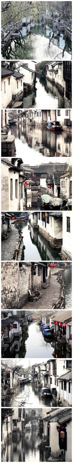 China Travel Inspiration - Scenes of Suzhou, Chang. Famous for beautiful silks. The gardens get very busy. Visit Wangshi Yuan, Shizi Lin and Zhouzheng Yuan before 10 am. They open at Canglang Ting and Ou Yuan are not so busy so can go later. Laos, China Architecture, Asia, China Image, Vietnam, China Travel, China Trip, Suzhou, Chinese Culture