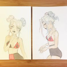 Bunheads #harleyquinn #thankyousketches #windsorandnewtonwatercolor