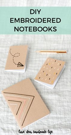 DIY Embroidered Notebooks – Dear Handmade Life Up Your Crafting Game with These Lace Coasters – Mod Podge Rocks 12 Air Dry Clay Projects that will ins Diy Embroidered Notebook, Handmade Notebook, Handmade Books, Diy Notebook Cover, Notebook Design, Diy Paper, Paper Crafts, Diy Broderie, Papier Diy