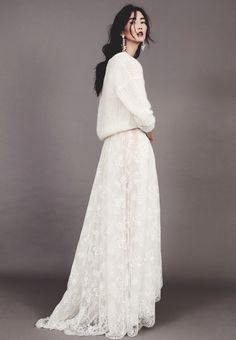 White sweater with white lace formal skirt