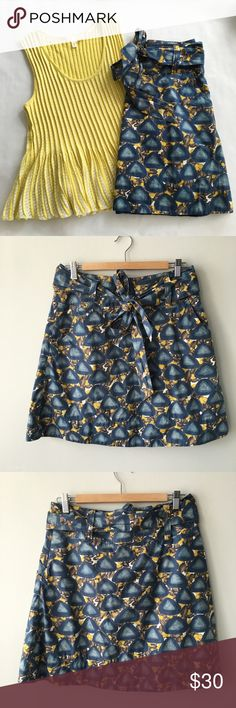 "✨HP: 10/25✨ Anthropologie Pebble Beach Skirt Pebble Beach skirt by Anthropologie brand, Fei. Rows of triangular stones are set against a background of scattered grey and yellow rocks. Shades of pretty slate blue, grey, taupe, brown, and mustard yellow. ·         Wide waistband with belt loops ·         Removable sash ·         A-line shape ·         Pockets ·         Fully lined; size zip ·         20"" long ·         100% cotton, Machine Wash  In excellent condition – no tears or stains…"