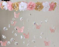 móvil de bebé de flor rosa y blanco móvil rosa por JennabooBoutique
