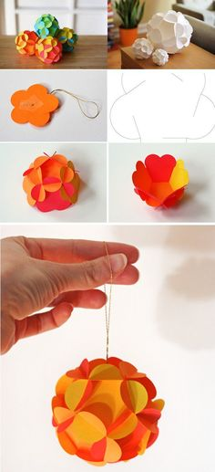 hanging-ball - 40 Origami Flowers You Can Do | Art and Design