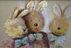Pastel Art, Pastels, Teddy Bear, Illustration, Painting, Animals, Inspiration, Image, Animales