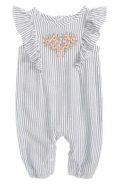 Tucker + Tate Flutter Sleeve Embroidered Romper (Baby Girls)