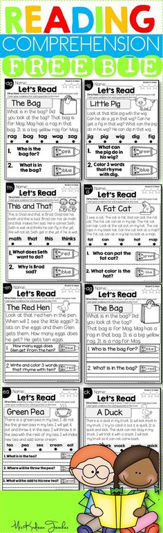 FREE reading comprehension passages for Kindergarten and First grade. Differentiated for writers and non-writers. Text evidence based reading passages for guided reading.