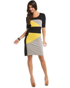 "BCBGMAXAZRIA ""Leticia"" Black Multicolor Color Block Dress [My fav' brand :]"