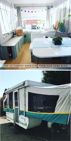This pop-up camper makeover cost less than 200 and is bright airy and ready for summer This pop-up camper makeover cost less than 200 and is bright airy and ready for summer Cortney Baggett camping nbsp hellip life diy pop up Popup Camper Remodel, Camper Renovation, Pop Up Tent Trailer, Tent Trailer Camping, Pop Up Caravan, Tent Camping Beds, Airstream Camping, Tent Campers, Cool Campers