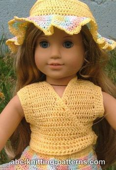 American Girl Doll Sleeveless Wrap Top Free Crochet Pattern