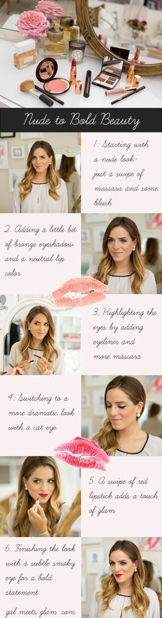 Gal Meets Glam- nude to bold beauty looks with neutral makeup, cat eye and red lipstick.
