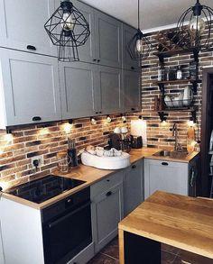 Grey Kitchen Designs, Kitchen Room Design, Interior Design Kitchen, Kitchen Cabinets Decor, Diy Kitchen Decor, Small White Kitchens, Small Apartment Kitchen, Kitchen Remodel, Decoration