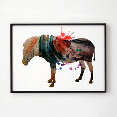 Splash print. Donkey poster. Watercolor decor. Animal print.    Printed on high quality art paper.    SIZES:    8.3 x 11.7 (A4)  11.7 x 16.5