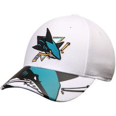 2617c10df Men s Reebok White San Jose Sharks Face Off Draft Flex Hat