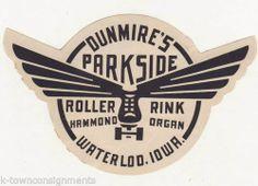 Dunmire's Parkside Roller Rink Waterloo Vintage Graphic Art Roller Skating Decal | eBay