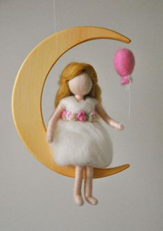 Room Decoration Waldorf inspired needle felted  mobile: The girl with baloon in the moon