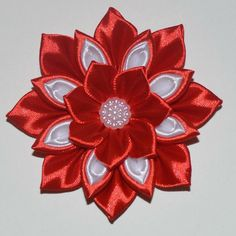 Valentine's Day Flower Hair Clip/Bow. Price: £3.99, Free UK Delivery #hairaccessories #valentinesday #kanzashi #kanzashiflowers #kanzashibows #hairbows