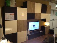 se vende mueble tv combinación, blanco motivo negro/marrón, ikea ... - Soggiorno Ikea Besta Tofta
